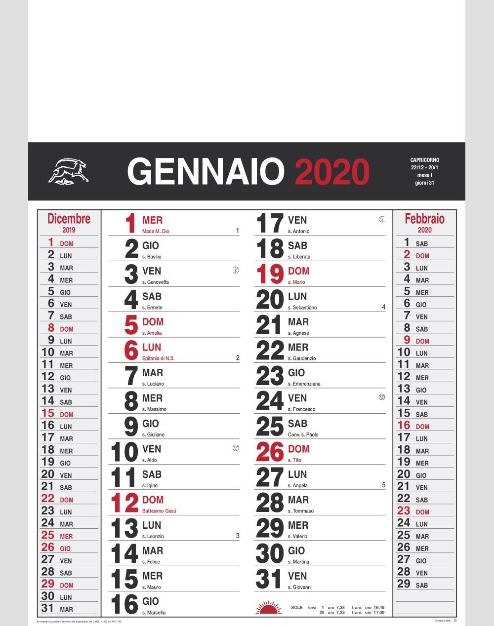 Calendario Olandese Gennaio 2020