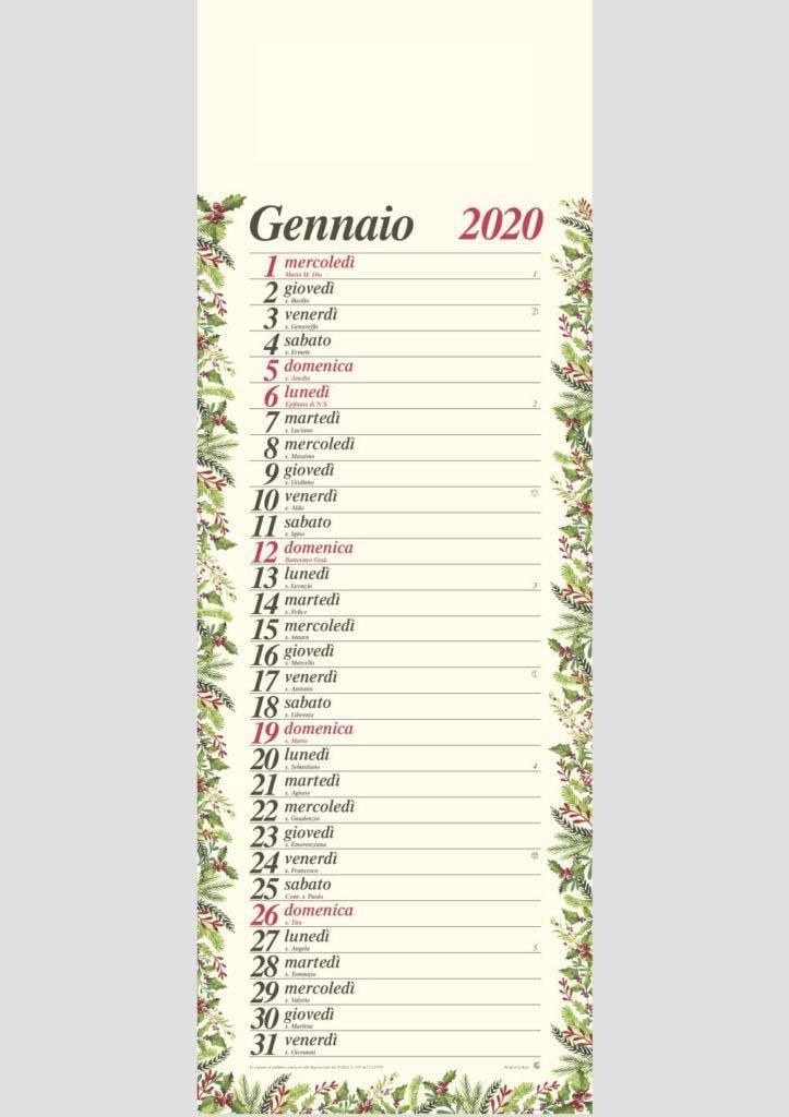 Calendario Gennaio 2020